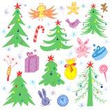 Kleurrijke Hand Getrokken Grappige Krabbelsparren en Kerstmissymbolen Kinderentekeningen van Giften, Speelgoed, Engel, Sterren en stock illustratie