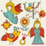 Kleurrijke hand getrokken Krabbel van leuke engelen en vogels royalty-vrije illustratie