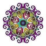Kleurrijke Hand Getrokken Mandala, Oosters Decoratief Element, Uitstekende Stijl Royalty-vrije Stock Afbeeldingen