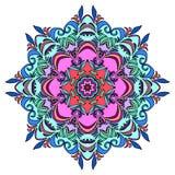 Kleurrijke Hand Getrokken Mandala, Oosters Decoratief Element, Uitstekende Stijl Stock Afbeelding