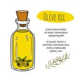 Kleurrijke hand getrokken olijfoliefles met steekproeftekst Royalty-vrije Stock Foto's