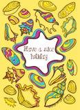 Kleurrijke hand getrokken prentbriefkaar met zeeschelpen Royalty-vrije Stock Afbeelding