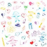 Kleurrijke Hand Getrokken Reeks de Dagsymbolen van Valentine ` s Kinderen` s Leuke Tekeningen van Harten, Giften, Ringen, Ballons Stock Foto's