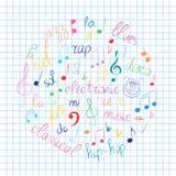 Kleurrijke Hand Getrokken Reeks Muzieksymbolen Krabbelg-sleutel, Bass Clef, Nota's en Muziekstijlen die in een Cirkel op Blad wor Royalty-vrije Stock Foto's