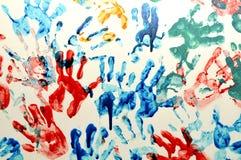 Kleurrijke handaf:drukken Stock Afbeeldingen