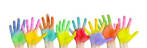 Kleurrijke handen Stock Afbeeldingen