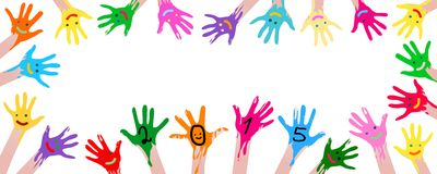 Kleurrijke Handen Stock Foto's