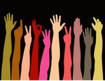 Kleurrijke handen die omhoog bereiken Stock Foto's