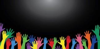 Kleurrijke handen omhoog en achtergrondkunstvector Stock Foto's