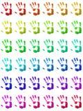 Kleurrijke handprints Stock Afbeeldingen