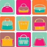 Kleurrijke handtassenillustratie op witte achtergrond stock illustratie
