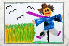 Kleurrijke handtekening: enge vogelverschrikker stock illustratie