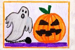 Kleurrijke handtekening: Leuke Hallowen-Pompoen en Eng Spook vector illustratie
