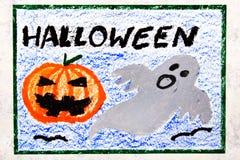 Kleurrijke handtekening: Leuke Hallowen-Pompoen en Eng Spook stock illustratie