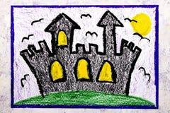 Kleurrijke handtekening: Oud eng kasteel bij nacht vector illustratie