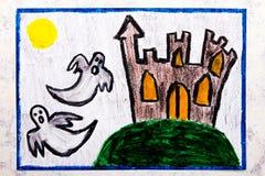 Kleurrijke handtekening: Oud eng kasteel en twee spoken bij nacht vector illustratie
