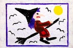Kleurrijke handtekening: Oude lelijke heks die op een bezem vliegen royalty-vrije illustratie