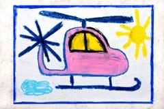 Kleurrijke handtekening: roze helikopter royalty-vrije illustratie