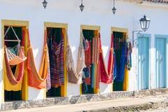 Kleurrijke hangmatmarkt in historisch dorp royalty-vrije stock foto's