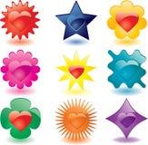 Kleurrijke hart gevormde glasknopen Stock Afbeeldingen
