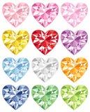 Kleurrijke hartdiamant Stock Foto