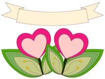 Kleurrijke hartinstallaties onder lint met plaats voor tekst Stock Afbeelding