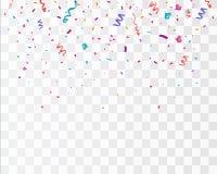 Kleurrijke heldere die confettien op transparante achtergrond worden geïsoleerd feestelijke vectorillustratie stock illustratie