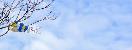 Kleurrijke heliumballons die takken van boom hangen onder blauwe hemel stock foto's