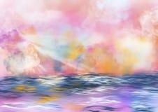 Kleurrijke hemel met wolken en water royalty-vrije illustratie