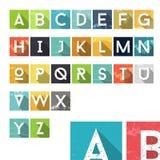 Kleurrijke het Alfabetpictogrammen van het Grungestof Royalty-vrije Stock Afbeeldingen