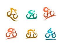 Kleurrijke het cirkelen en fietsenpictogrammen Stock Foto's