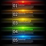 5 kleurrijke het gloeien opties Nuttig voor presentaties of Webontwerp Nuttig voor presentaties of Webontwerp Royalty-vrije Stock Foto's
