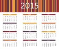 kleurrijke het jaarkalender van 2015 in heldere kleuren royalty-vrije illustratie