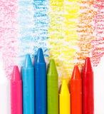 Kleurrijke het kleurpotloodkleur van de regenboog voor kinderen royalty-vrije illustratie