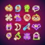 Kleurrijke het Neonpictogrammen van Halloween Royalty-vrije Stock Foto