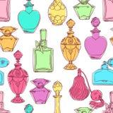 Kleurrijke het parfumflessen van naadloze vrouwen Stock Afbeeldingen