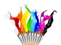 Kleurrijke het penseelrij van de kleurenplons stock fotografie