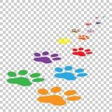Kleurrijke het pictogram vectorillustratie van de pootdruk op geïsoleerde backgrou vector illustratie