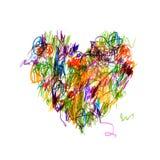 Kleurrijke het potloodtekening van de hartvorm voor uw Royalty-vrije Stock Foto