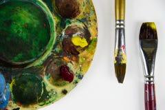 Kleurrijke het schilderen hulpmiddelen Stock Fotografie