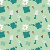 Kleurrijke het tuinieren van het hulpmiddelen leuke naadloze patroon illustratie als achtergrond Stock Foto's
