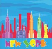 Kleurrijke het van letters voorzien en de reispictogrammen van New York op blauwe hemelachtergrond Reisprentbriefkaar stock illustratie