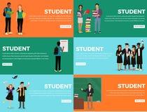 Kleurrijke het Webbanner van studenteneveryday life process stock illustratie