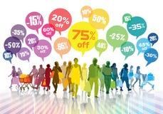Kleurrijke het winkelen menigte Stock Foto's