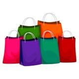 Kleurrijke het winkelen zak Stock Foto's