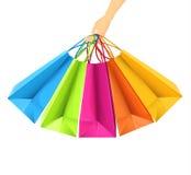 Kleurrijke het winkelen zakken Stock Foto's