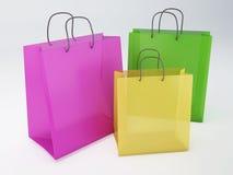 Kleurrijke het Winkelen Zakken op witte achtergrond Stock Fotografie