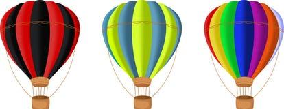 Kleurrijke Hete luchtballon die op witte achtergrond wordt geïsoleerd Stock Afbeeldingen