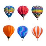 Kleurrijke hete luchtballons die op witte achtergrond worden geïsoleerd royalty-vrije stock afbeeldingen