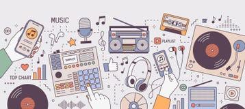 Kleurrijke horizontale banner met handen en apparaten voor en muziek die - speler, boombox, radio, microfoon spelen luisteren royalty-vrije illustratie